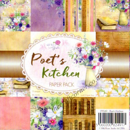 "Poet's Kitchen 6"" x 6"" Designer Paper Pack by Wild Rose Studio"